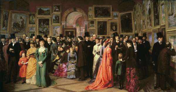 A Private View at the Royal Academy, 1881 (oil on canvas)
