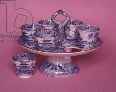 Staffordshire blue-printed egg cups and holder, 'Willow' pattern (ceramic)