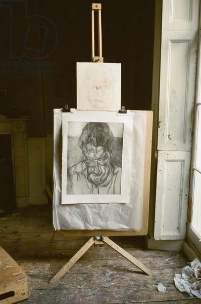 Studio interior with Lucian Freud's 'The Painter's Doctor', 2005-06 (photo)