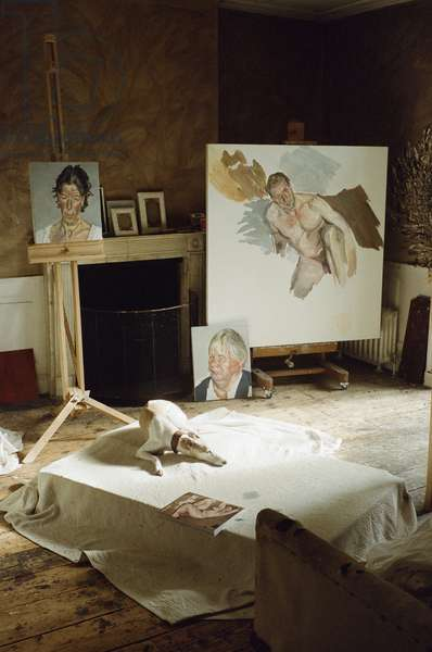 Interior of Lucian Freud's studio with 'Portrait of the Hound', 2011 (photo)