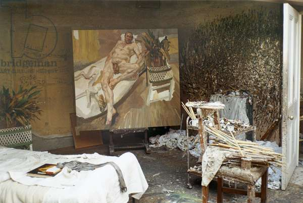 Interior of Lucian Freud's studio with 'David and Eli', 2003-04 (photo)
