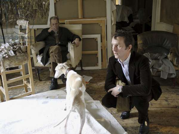 Lucian Freud and Tobias Meyer at Lucian Freud's studio, 2010 (photo)
