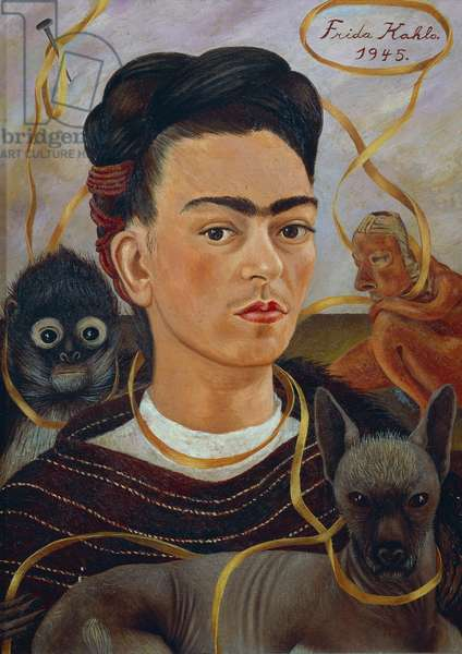 Self-Portrait with Changuito, 1945, by Frida Kahlo (1907-1954), oil on masonite, 56x41 cm. Mexico, 20th century.
