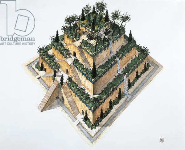 Artists impression of 'the Hanging Gardens of Babylon' (colour litho)