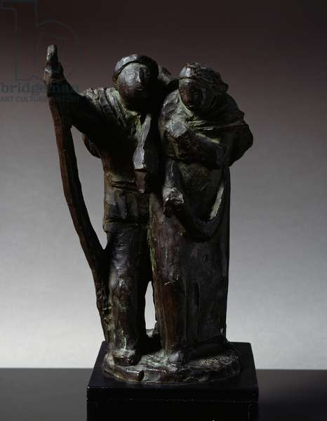 Shipwrecked, by Arturo Martini (1889-1947), bronze sculpture, 34 cm. Italy, 20th century.