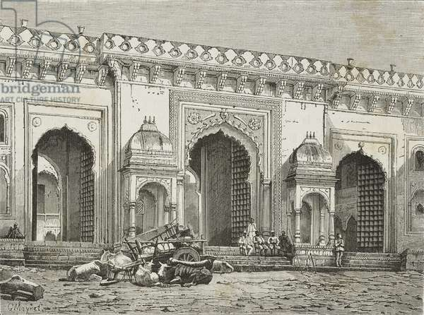 Gate of Summer Palace of Maharajah of Rewa, Govindgarh, engraving from India: travel in Central India and Bengal, 1877, by Louis Rousselet (1845-1929)