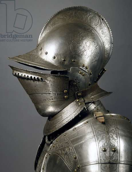 Helmet from horseman's armor in steel decorated with engravings, made by Lombard master in late 16th century, Italy, 16th century