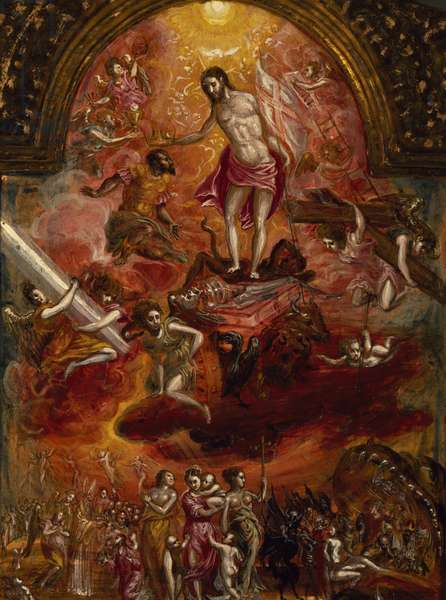 Allegory of Christian Knight, back of portable altar, by El Greco (1541-1614)