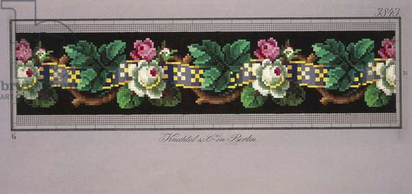 Hem pattern with roses and ribbon, 19th century