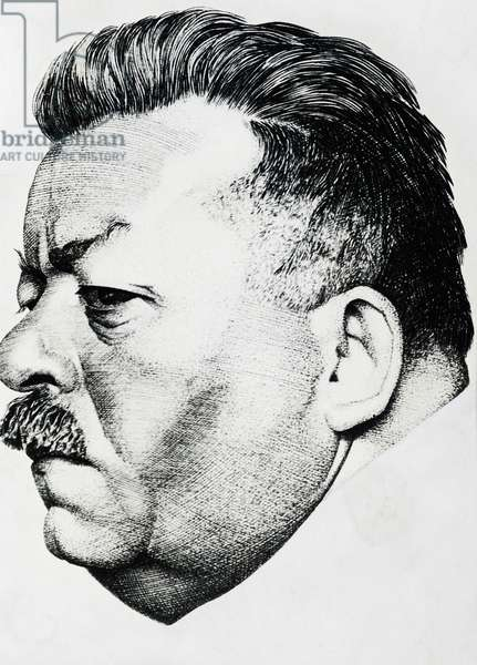 Portrait of Friedrich Ebert (1871-1925), German politician, president of the Weimar Republic from 1919 to 1925, engraving