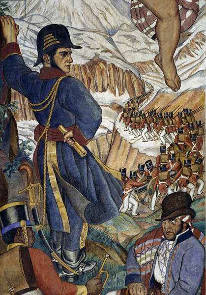 General San Martin passing Andes with his army