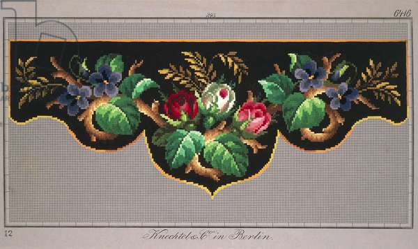 Pelmet pattern with roses, violets and ears of wheat, 19th century