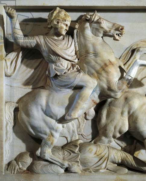 The Sarcophagus of Alexander in marble, from Sidon, Lebanon, detail showing Alexander on horseback fighting Persians,4th Century BC, Ancient Greece