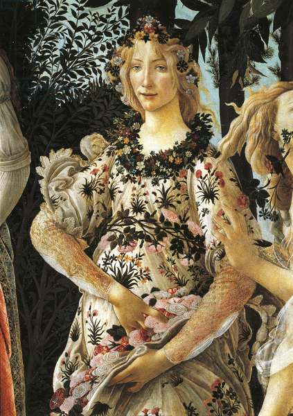 Depiction of Flora, detail of allegory of spring by Sandro Botticelli (1445-1510), tempera on wood, 203x314 cm, circa 1477-1490