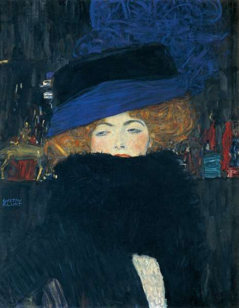 Lady with a hat and a feather boa, by Gustav Klimt (1862-1918).