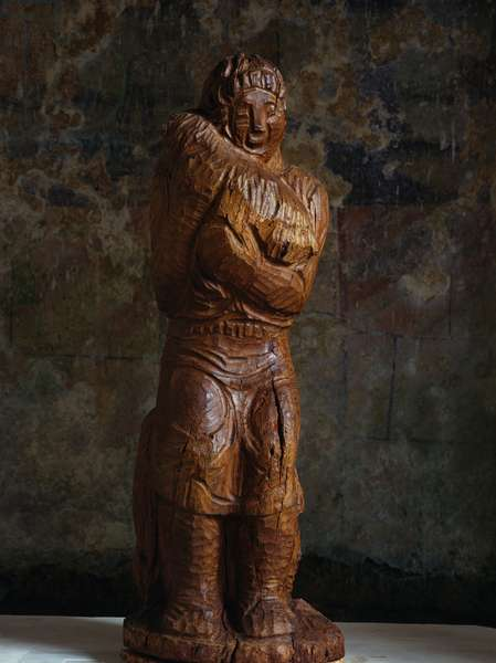The Good Shepherd, 1925, by Arturo Martini (1889-1947), walnut wood carving, 103x29 cm. Italy, 20th century.