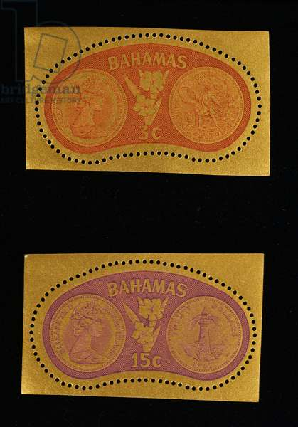 Postage stamps from series commemorating first election, 1968, depicting front and reverse of local coins and flower, Bahamas, 20th century