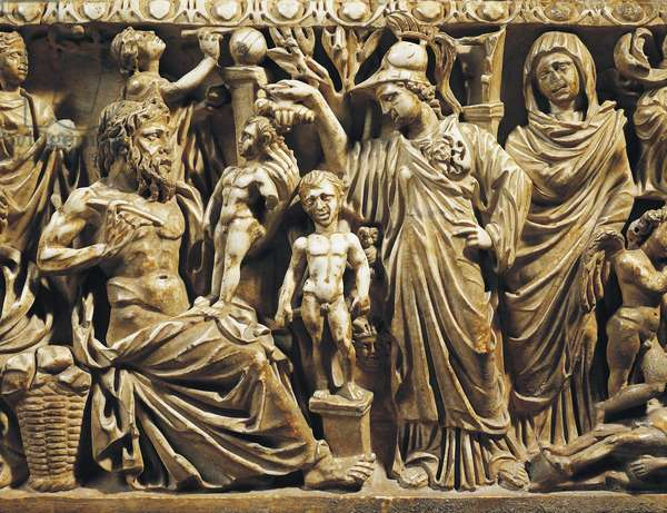 Sculpture decoration of sarcophagus of child representing myth of Prometheus, from Colli Albani, Rome