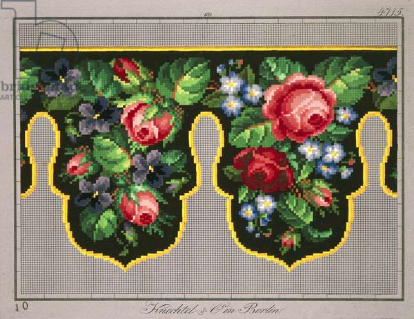 Pelmet pattern with roses, violets and forget-me-not, 19th century