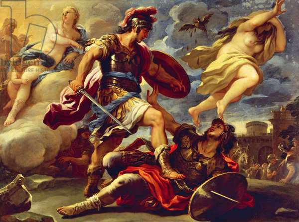 Aeneas defeats Turnus, by Luca Giordano (1634-1705), oil on canvas, 176x236 cm