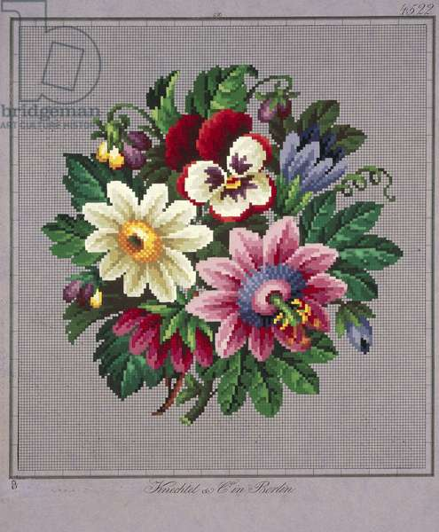 Bunch of violets, daisies, gentians and passionflowers embroidery design, 19th century