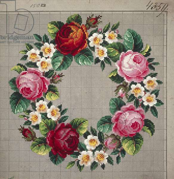 Crown of roses and peach blossoms embroidery design, 19th century