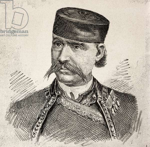 Portrait of Stojan Kovacevic, head of rebels from Herzegovina, insurgency against Austro-Hungarian Empire in Adriatic provinces, engraving from L'IIllustrazione Italiana, no 9, February 26, 1882