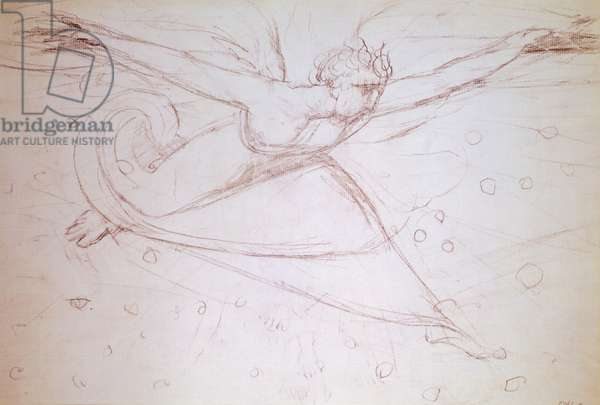 Angel walking, drawing by William Blake (1757-1827)