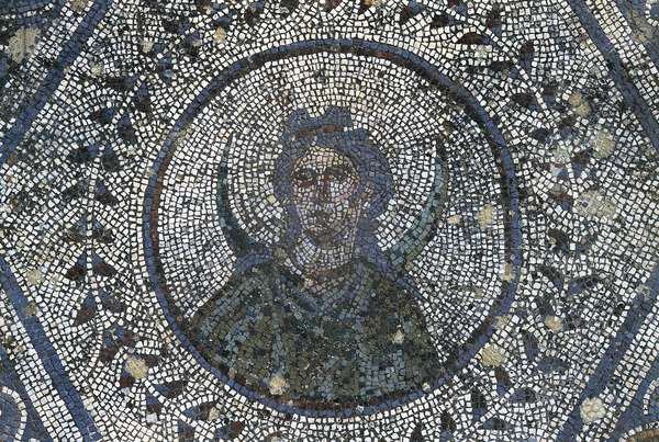 Spain, Andalusia, Carmona, Roman mosaic in House of Planetarium, detail
