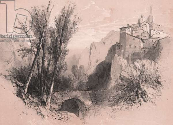 View of the old village of Pescina, Abruzzo, Italy, drawing and lithograph in black and sepia by Edward Lear (1812-1888), Plate 21, ca 20x26 cm