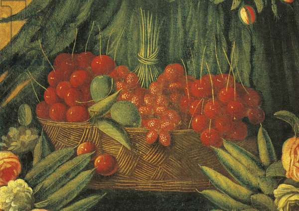 Italy, Florence, The Spring, basket of cherries with peas