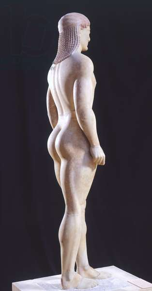 Kouros, 525-550 BC, sculpture of archaic age from Anavissos (Greece), Side view, Greek Civilization, 6th Century BC