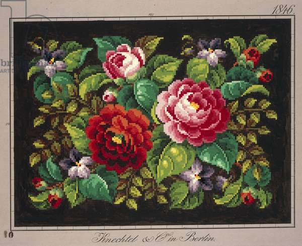 Pillow or carpet pattern with roses and violets, 19th century