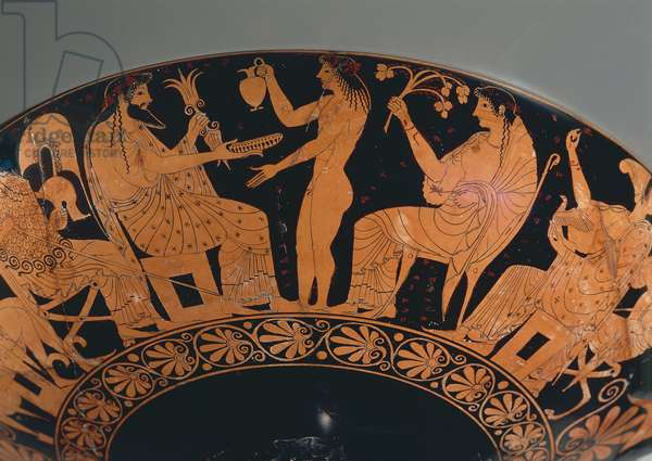 Detail of Attic goblet depicting Gods gathering, painted by Oltos, late archaic Greek vase painter