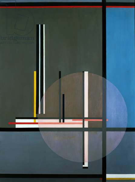 LIS, 1922, by Laszlo Moholy-Nagy (1895-1946), oil on canvas, 132 x 102 cm. Hungary, 20th century.