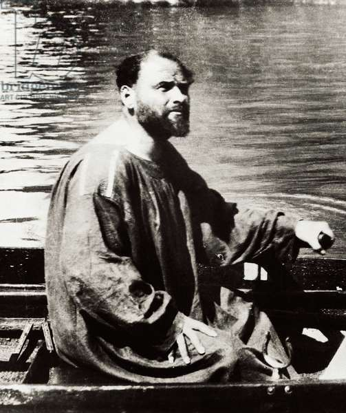 Austrian painter Gustav Klimt on boat on Ammersee, Austria, 1909 (b/w photo)
