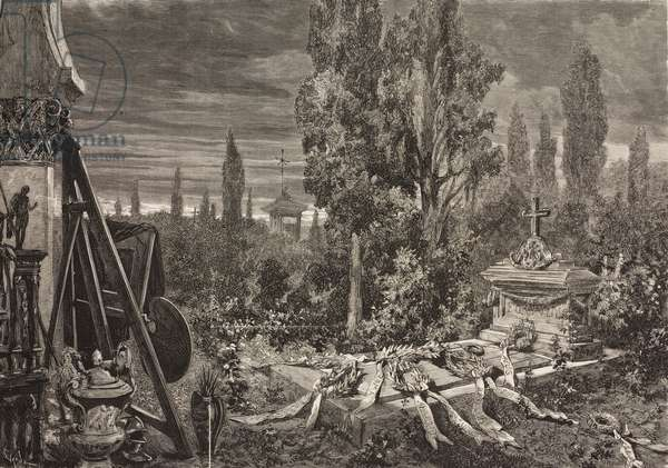 Tomb of painter Mariano Fortuny  (1838-1874), drawing by Josep Lluis Pellicer, illustration from La Ilustracion Espanola y Americana magazine, Year 19, Number 43, November 22, 1875
