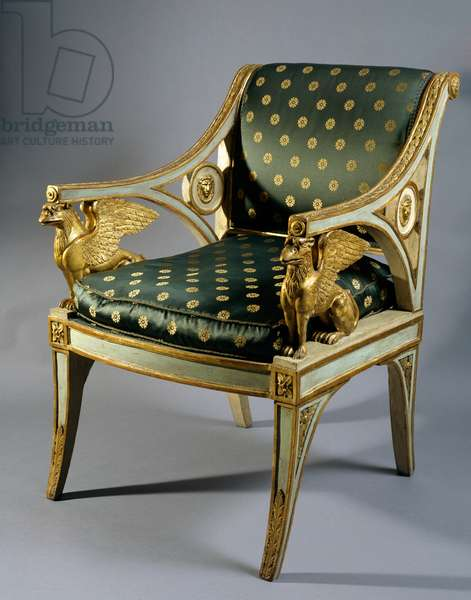 Lacquered wood and gilt Lombard chair with griffin-shaped arm supports, attributed to Prada, Italy, early 19th century