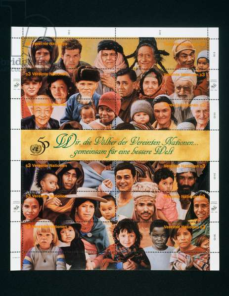 Sheet of stamps commemorating 50th Anniversary of United Nations depicting different ethnic faces, 1995, United Nations, 20th century