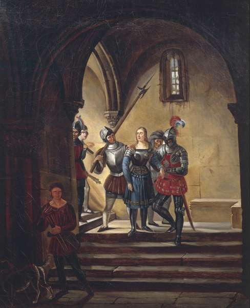 Joan of Arc being taken to prison, painting by an unknown 19th century French artist.