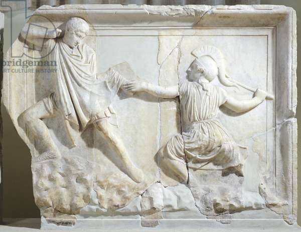 Scene of Amazonomachy, from shield of Athena Parthenos by Phidias, attic relief,2nd Century BC, Ancient Greece