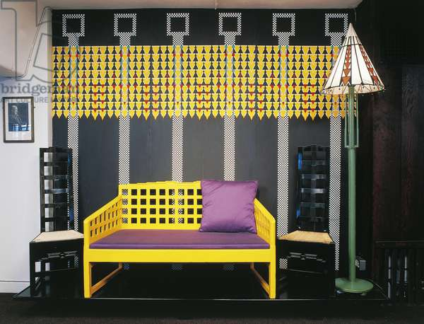 Yellow sofa, chairs, lamp and wallpaper by Charles Rennie Mackintosh, United Kingdom, 20th century