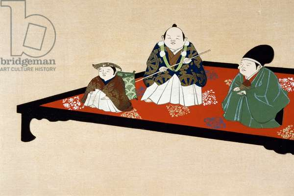 Japanese family in indoors, 1903, Ukiyo-e art print by Kamisaka Sekka (1866-1942), Horizontal oban woodcut, Japanese civilization, 17th-19th century, Edo period