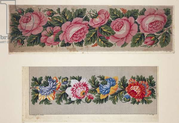 Hem pattern with roses; Model for hem with peonies, 19th century