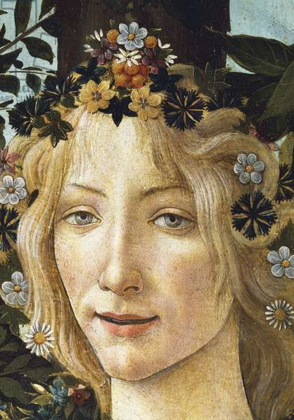 The face of Flora, detail of the allegory of spring, circa 1477-1490, by Sandro Botticelli (1445-1510), tempera on wood, 203x314 cm