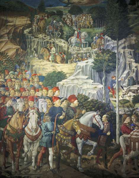 Procession of the Magi by Benozzo Gozzoli (1420-1497), fresco. Detail. Chapel of Palazzo Medici Riccardi, Florence.