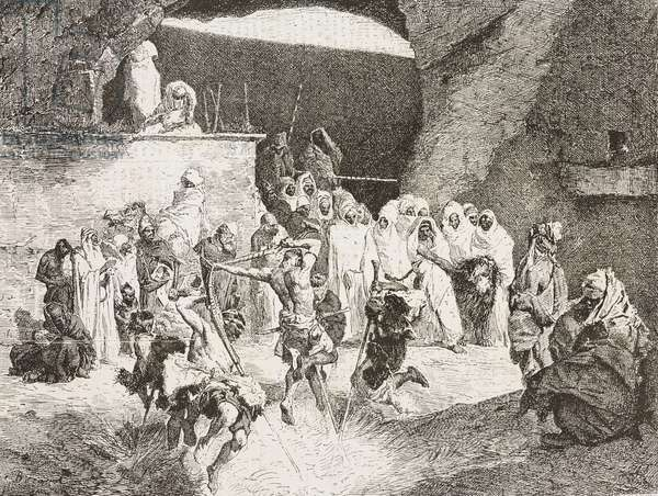 Kabyle convulsionaries, tribal dance, painting by Mariano Fortuny (1838-1874), engraving from L'Illustrazione Italiana, Year 3, No 9, December 26, 1875