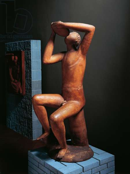 The Drinker, 1926, terracotta sculpture by Arturo Martini (1889-1947), 150.5 cm. Italy, 20th century.