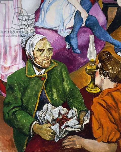 Van Gogh brings his cut-off ear to the Arles bordello, 1978, by Renato Guttuso (1911-1987), oil on canvas, 238x300 cm. Italy, 20th century. Detail.