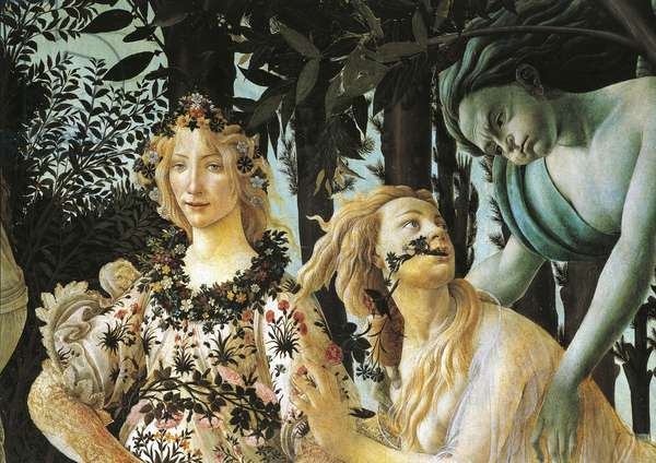 Flora, nymph Cloris and Zephyr, detail of allegory of spring by Sandro Botticelli (1445-1510), tempera on wood, 203x314 cm, circa 1477-1490
